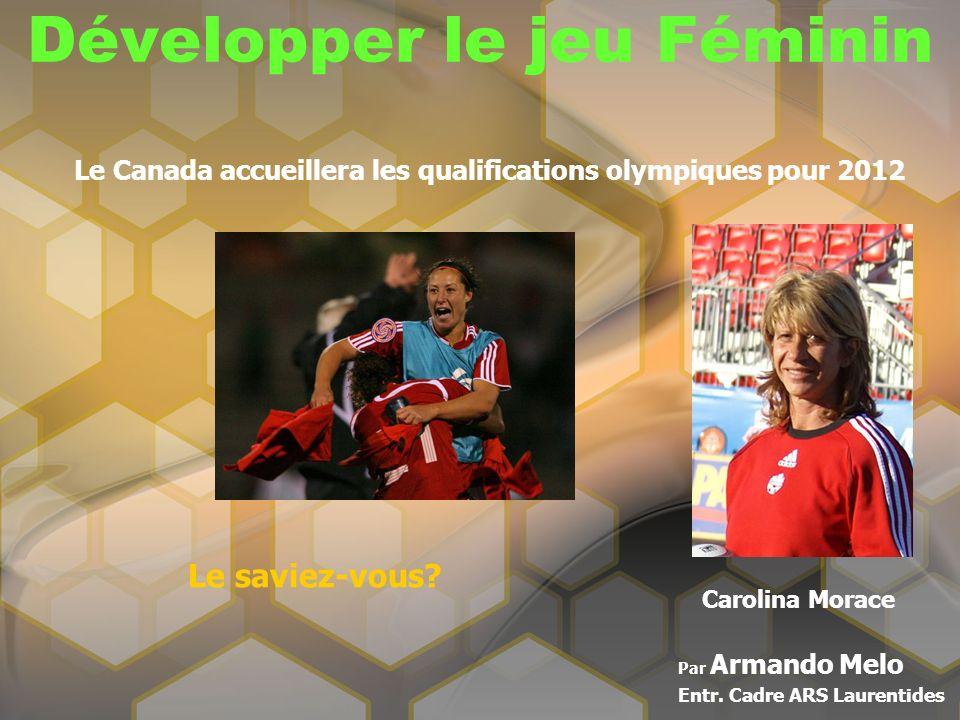 Développer le jeu Féminin Par Armando Melo Entr. Cadre ARS Laurentides Le Canada accueillera les qualifications olympiques pour 2012 Le saviez-vous? C