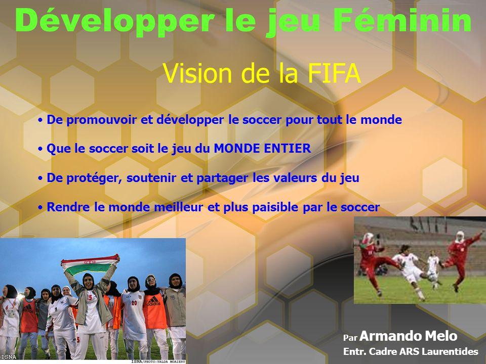 Développer le jeu Féminin Par Armando Melo Entr. Cadre ARS Laurentides Vision de la FIFA De promouvoir et développer le soccer pour tout le monde Que