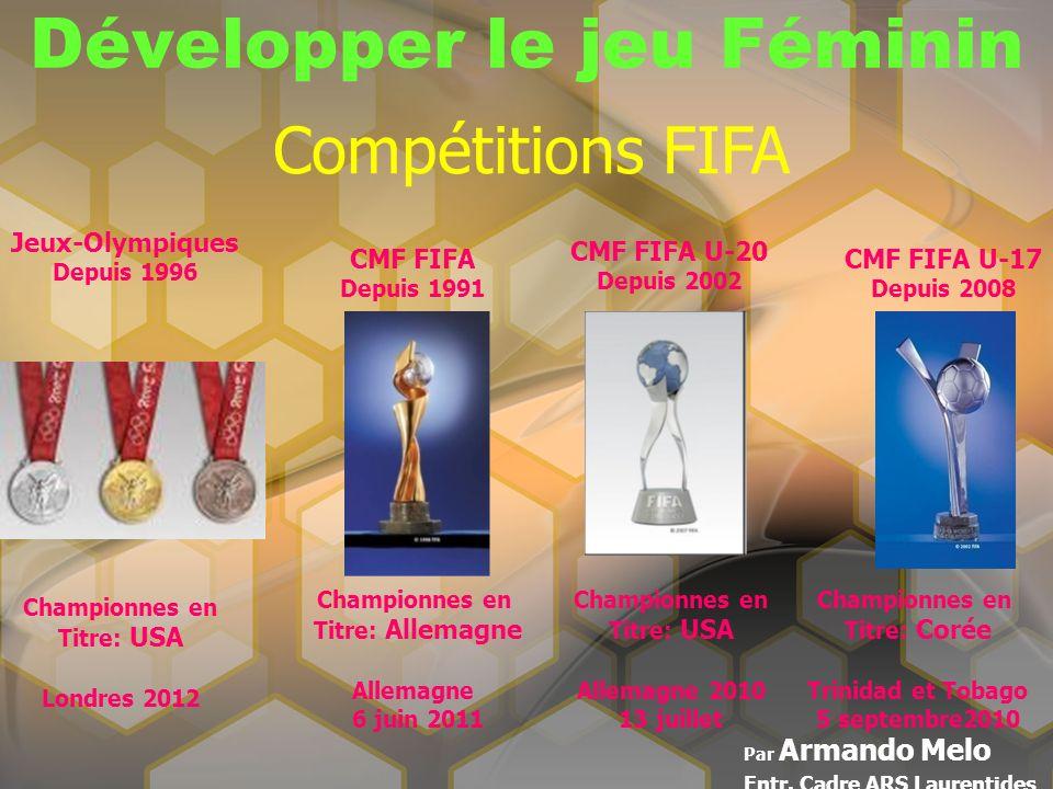 Développer le jeu Féminin Par Armando Melo Entr. Cadre ARS Laurentides Compétitions FIFA Championnes en Titre: USA Londres 2012 Jeux-Olympiques Depuis