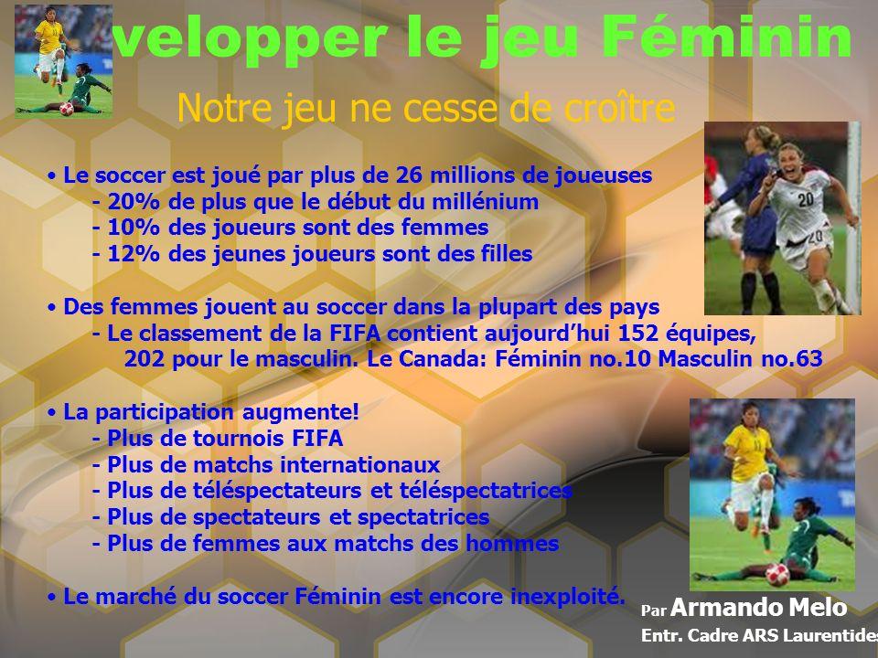 Développer le jeu Féminin Par Armando Melo Entr. Cadre ARS Laurentides Notre jeu ne cesse de croître Le soccer est joué par plus de 26 millions de jou