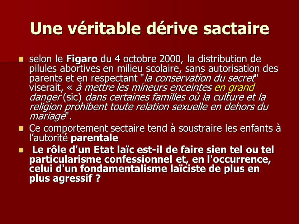 Une véritable dérive sactaire selon le Figaro du 4 octobre 2000, la distribution de pilules abortives en milieu scolaire, sans autorisation des parent