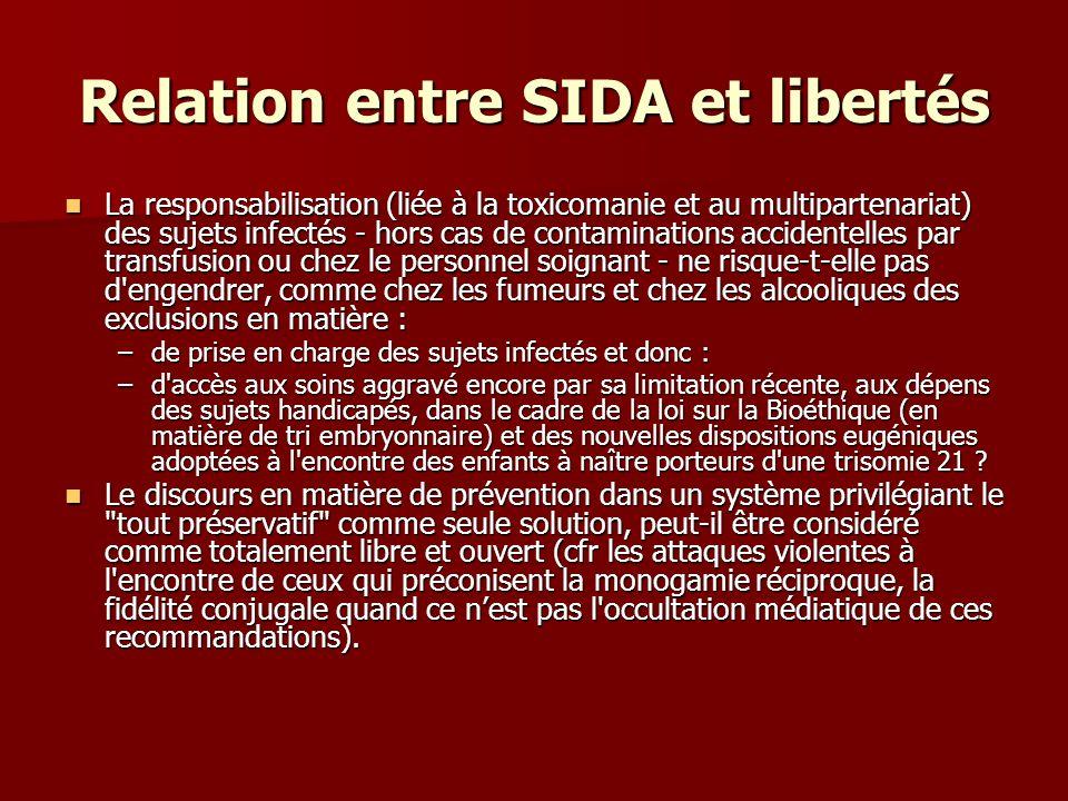 Relation entre SIDA et libertés La responsabilisation (liée à la toxicomanie et au multipartenariat) des sujets infectés - hors cas de contaminations
