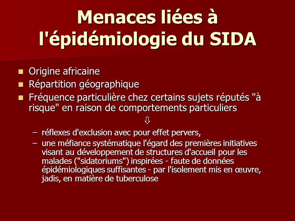 Menaces liées à l'épidémiologie du SIDA Origine africaine Origine africaine Répartition géographique Répartition géographique Fréquence particulière c