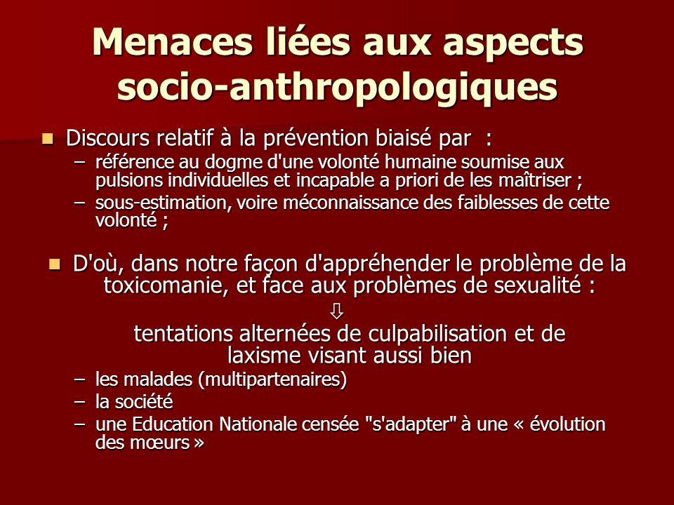 Menaces liées aux aspects socio-anthropologiques Discours relatif à la prévention biaisé par : Discours relatif à la prévention biaisé par : –référenc