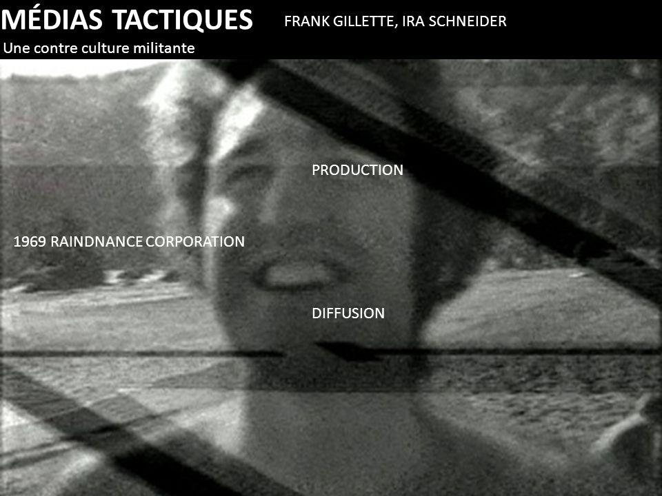 MÉDIAS TACTIQUES Une contre culture militante FRANK GILLETTE, IRA SCHNEIDER 1969 RAINDNANCE CORPORATION PRODUCTION DIFFUSION
