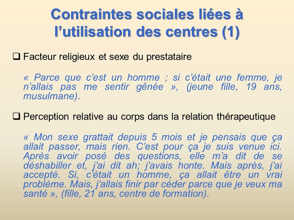 Contraintes sociales liées à lutilisation des centres (1) Facteur religieux et sexe du prestataire « Parce que cest un homme ; si cétait une femme, je nallais pas me sentir gênée », (jeune fille, 19 ans, musulmane).