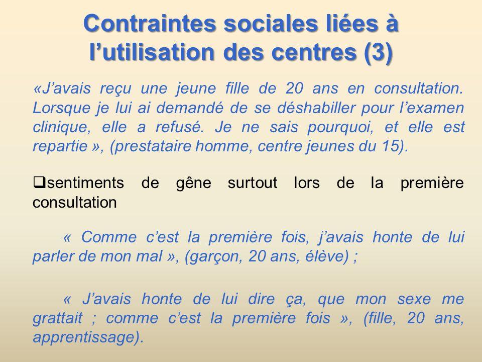 Contraintes sociales liées à lutilisation des centres (3) «Javais reçu une jeune fille de 20 ans en consultation. Lorsque je lui ai demandé de se désh