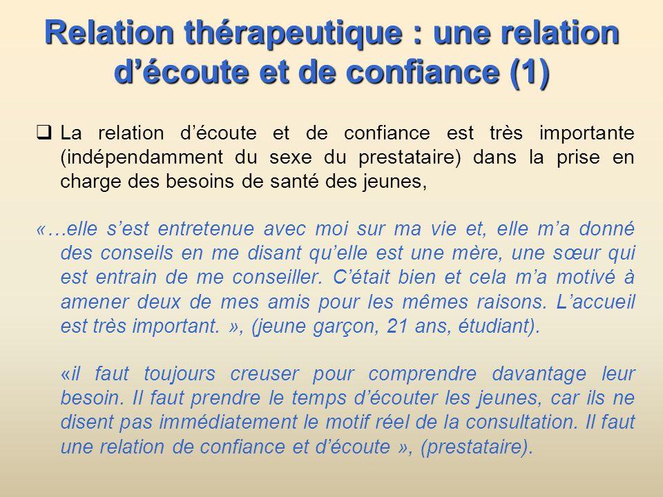 Relation thérapeutique : une relation découte et de confiance (1) La relation découte et de confiance est très importante (indépendamment du sexe du p