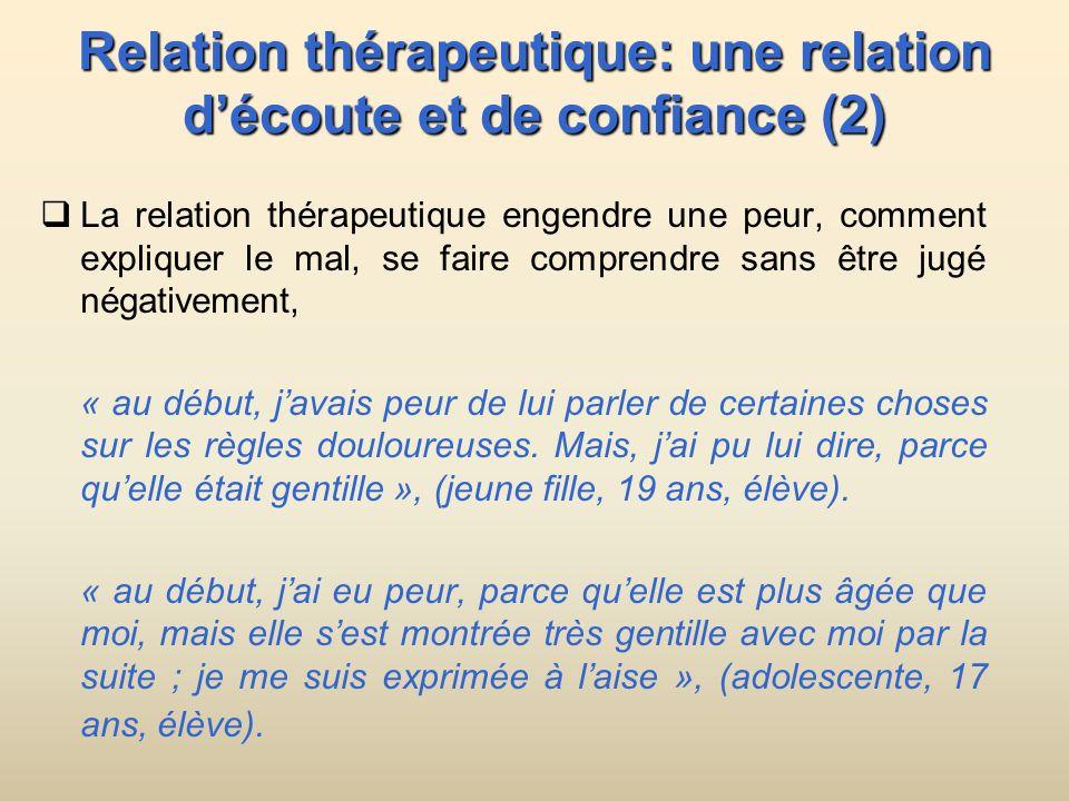 Relation thérapeutique: une relation découte et de confiance (2) La relation thérapeutique engendre une peur, comment expliquer le mal, se faire compr