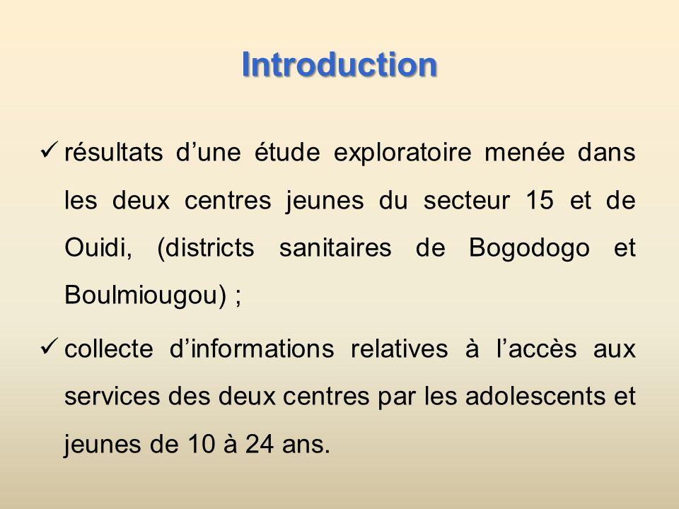 Introduction résultats dune étude exploratoire menée dans les deux centres jeunes du secteur 15 et de Ouidi, (districts sanitaires de Bogodogo et Boulmiougou) ; collecte dinformations relatives à laccès aux services des deux centres par les adolescents et jeunes de 10 à 24 ans.