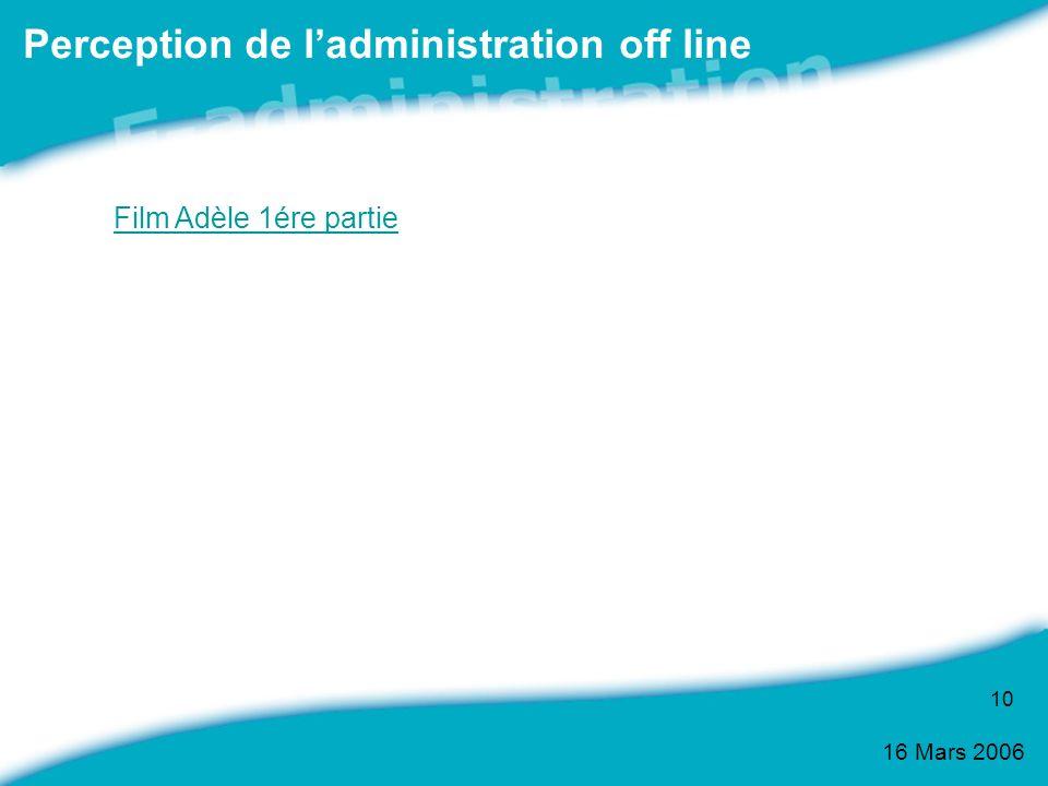 16 Mars 2006 10 Perception de ladministration off line Film Adèle 1ére partie