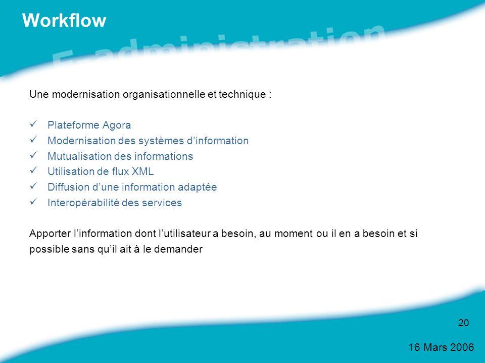 16 Mars 2006 20 Workflow Une modernisation organisationnelle et technique : Plateforme Agora Modernisation des systèmes dinformation Mutualisation des
