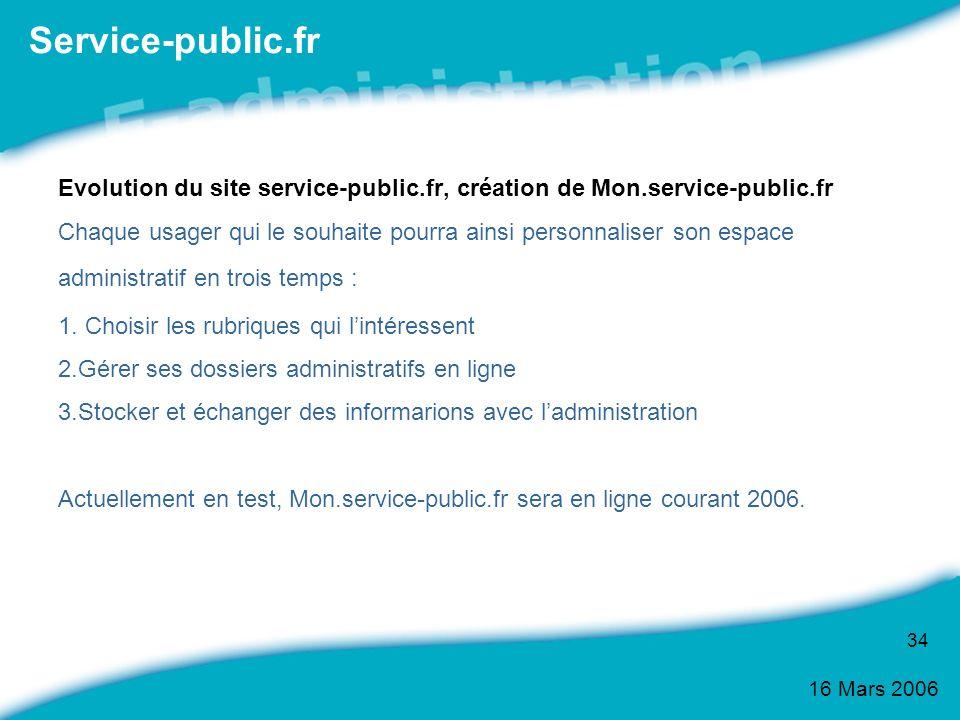 16 Mars 2006 34 Evolution du site service-public.fr, création de Mon.service-public.fr Chaque usager qui le souhaite pourra ainsi personnaliser son es