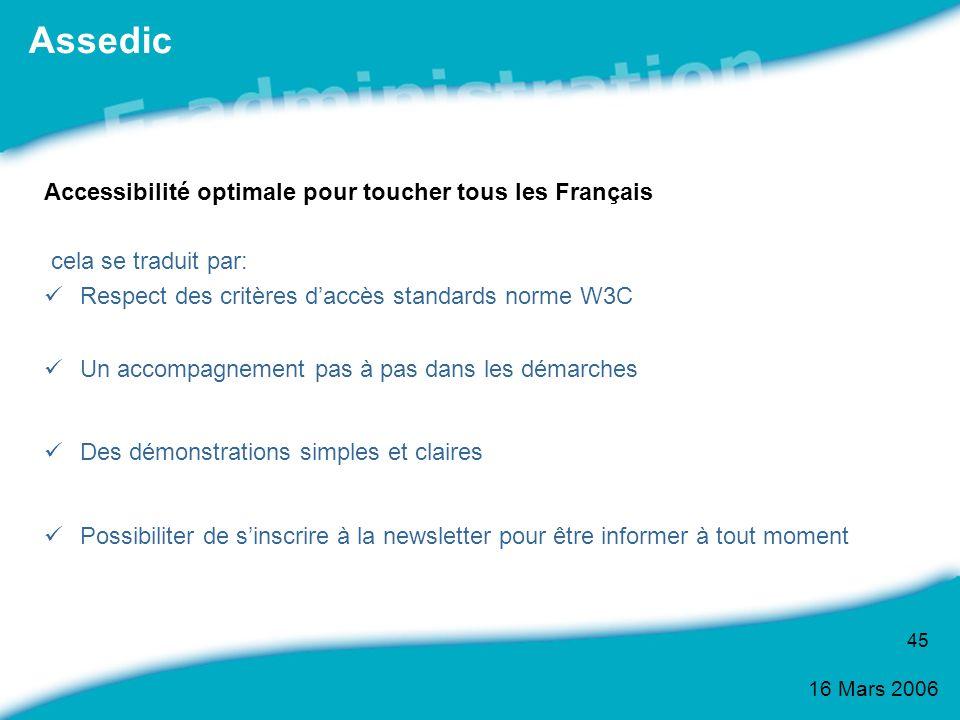 16 Mars 2006 45 Accessibilité optimale pour toucher tous les Français cela se traduit par: Respect des critères daccès standards norme W3C Un accompag