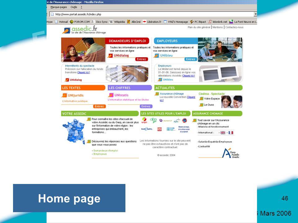 16 Mars 2006 46 Home page