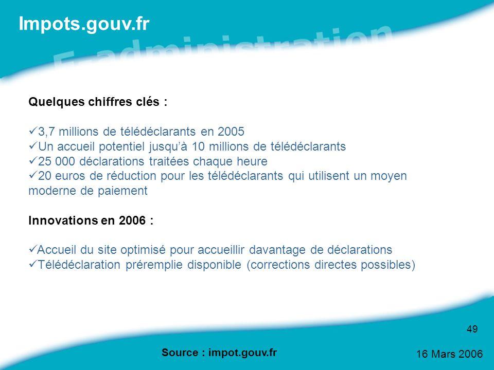 16 Mars 2006 49 Impots.gouv.fr Quelques chiffres clés : 3,7 millions de télédéclarants en 2005 Un accueil potentiel jusquà 10 millions de télédéclaran