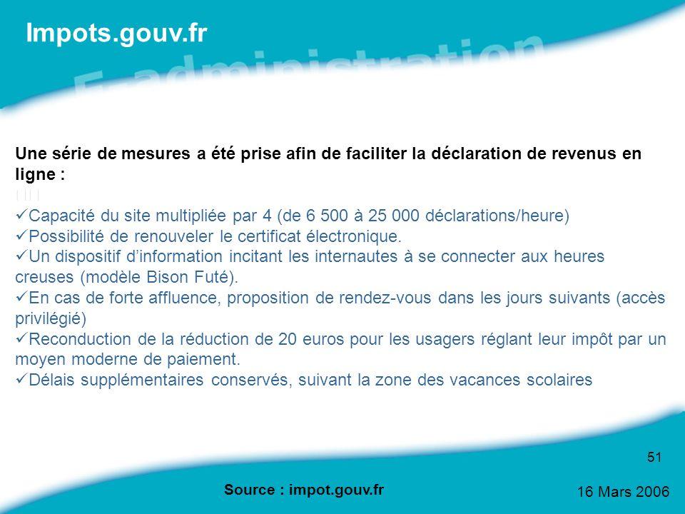 16 Mars 2006 51 Une série de mesures a été prise afin de faciliter la déclaration de revenus en ligne : Capacité du site multipliée par 4 (de 6 500 à