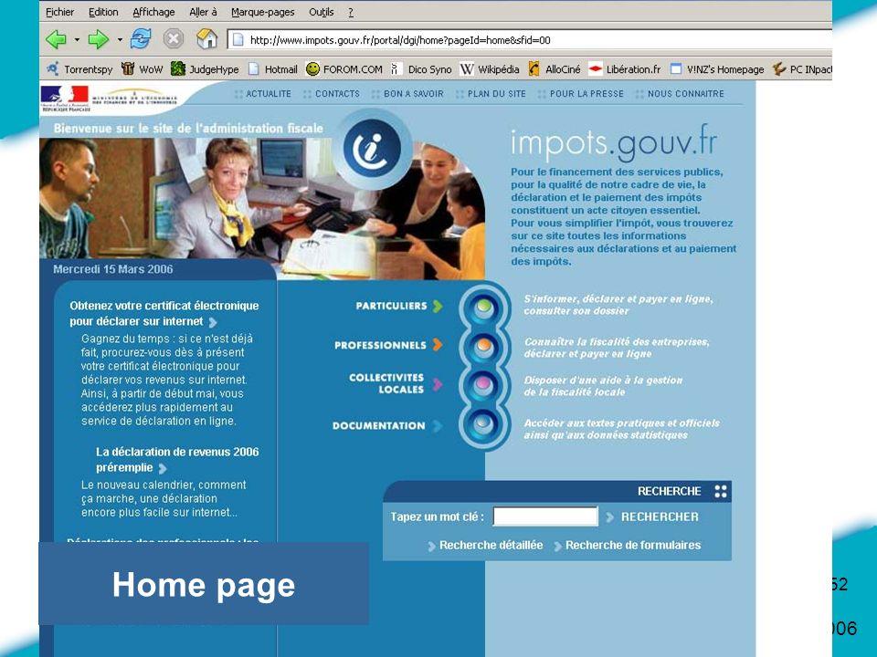 16 Mars 2006 52 Home page