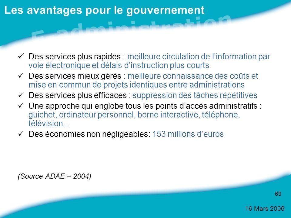 16 Mars 2006 69 Des services plus rapides : meilleure circulation de linformation par voie électronique et délais dinstruction plus courts Des service