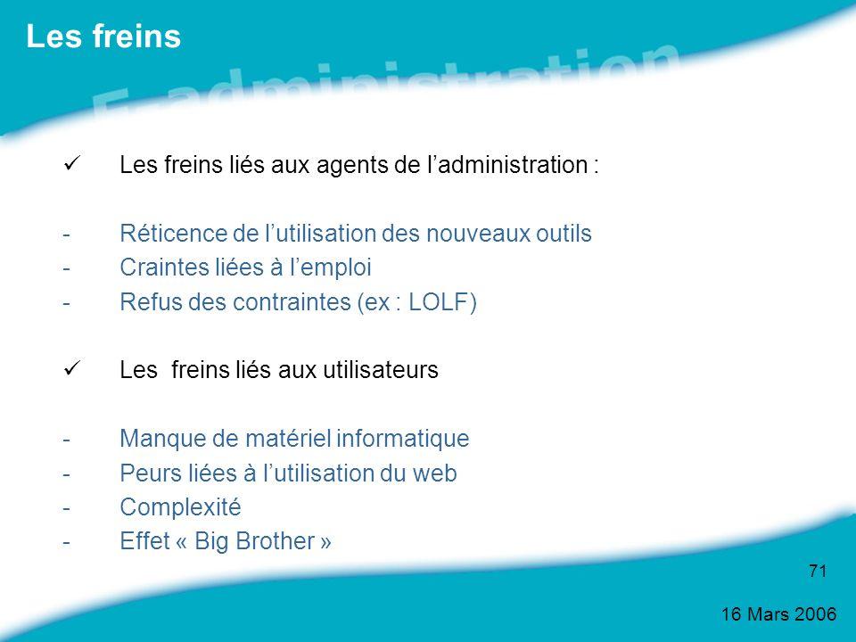 16 Mars 2006 71 Les freins Les freins liés aux agents de ladministration : -Réticence de lutilisation des nouveaux outils -Craintes liées à lemploi -R
