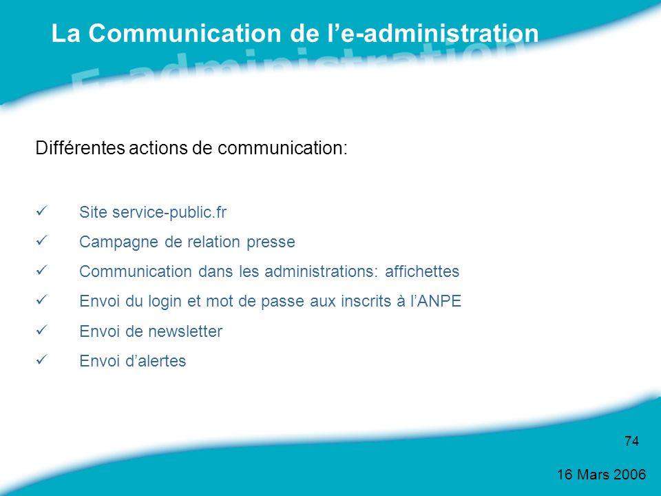 16 Mars 2006 74 La Communication de le-administration Différentes actions de communication: Site service-public.fr Campagne de relation presse Communi