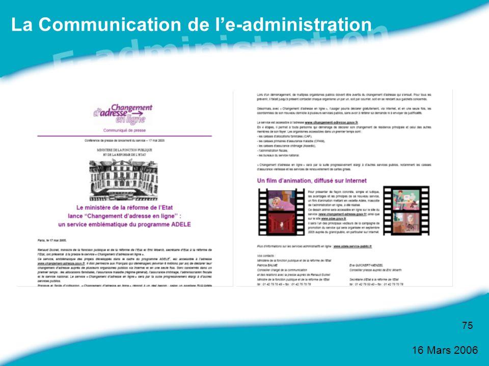 16 Mars 2006 75 La Communication de le-administration