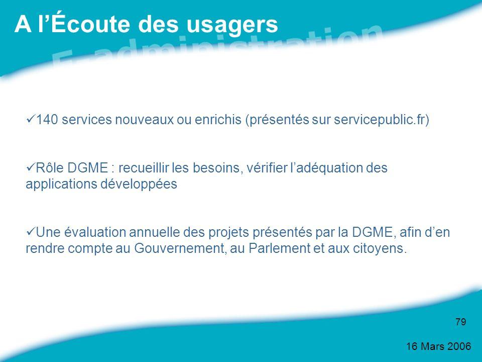 16 Mars 2006 79 140 services nouveaux ou enrichis (présentés sur servicepublic.fr) Rôle DGME : recueillir les besoins, vérifier ladéquation des applic