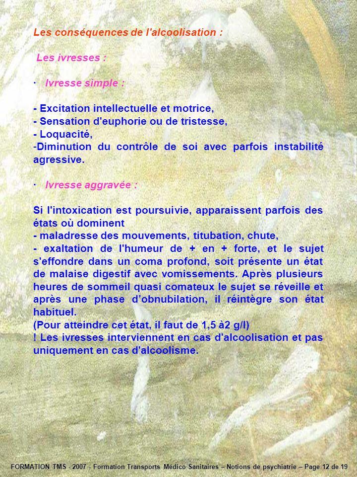 FORMATION TMS - 2007 - Formation Transports Médico Sanitaires – Notions de psychiatrie – Page 12 de 19 Les conséquences de l'alcoolisation : Les ivres
