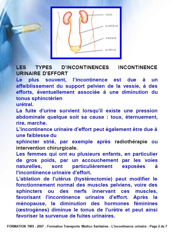 LES TYPES DINCONTINENCES INCONTINENCE URINAIRE D'EFFORT Le plus souvent, lincontinence est due à un affaiblissement du support pelvien de la vessie, à