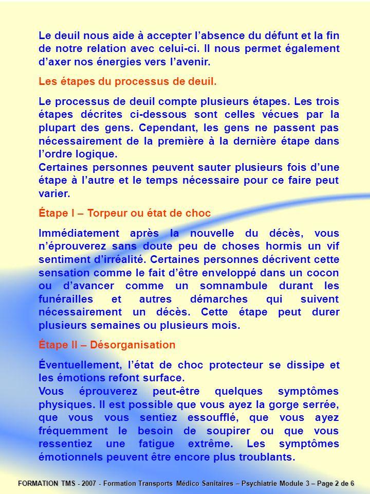 FORMATION TMS - 2007 - Formation Transports Médico Sanitaires – Psychiatrie Module 3 – Page 2 de 6 Le deuil nous aide à accepter labsence du défunt et