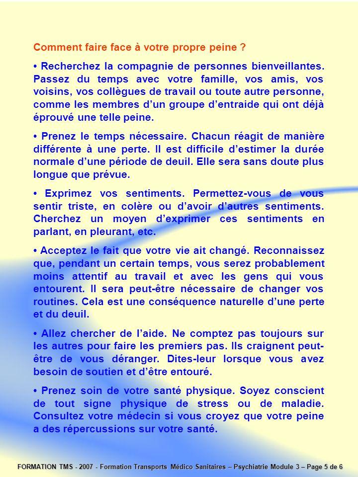 FORMATION TMS - 2007 - Formation Transports Médico Sanitaires – Psychiatrie Module 3 – Page 5 de 6 Comment faire face à votre propre peine ? Recherche