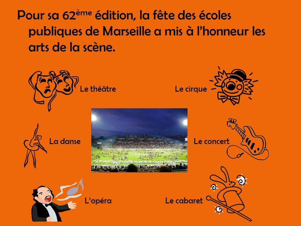Pour sa 62 ème édition, la fête des écoles publiques de Marseille a mis à lhonneur les arts de la scène. Le théâtre La danse Lopéra Le cirque Le conce