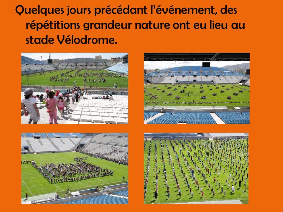 Quelques jours précédant lévénement, des répétitions grandeur nature ont eu lieu au stade Vélodrome.