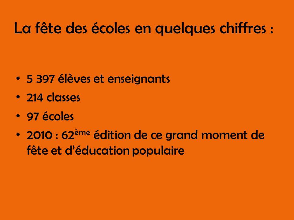 La fête des écoles en quelques chiffres : 5 397 élèves et enseignants 214 classes 97 écoles 2010 : 62 ème édition de ce grand moment de fête et déducation populaire