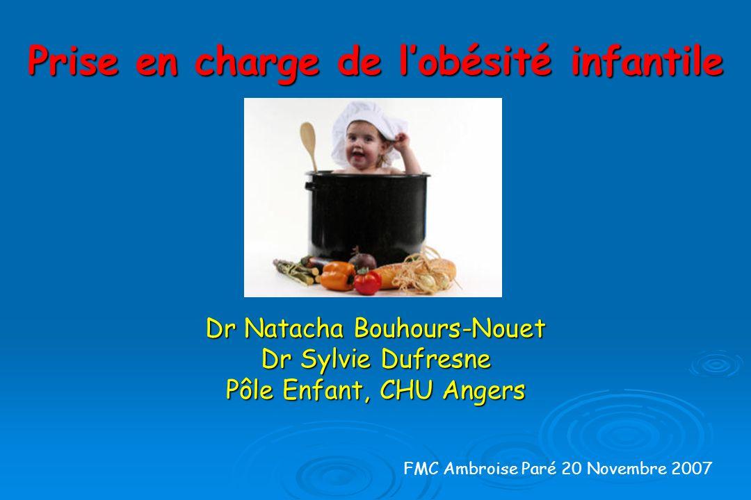 Prise en charge de lobésité infantile Dr Natacha Bouhours-Nouet Dr Sylvie Dufresne Pôle Enfant, CHU Angers FMC Ambroise Paré 20 Novembre 2007