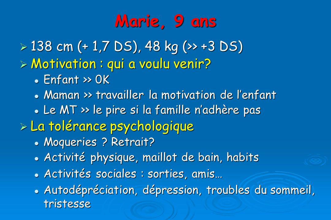 Marie, 9 ans 138 cm (+ 1,7 DS), 48 kg (>> +3 DS) 138 cm (+ 1,7 DS), 48 kg (>> +3 DS) Motivation : qui a voulu venir.