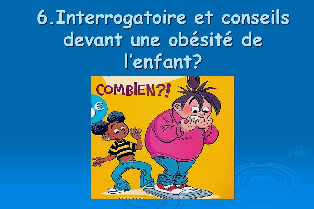 6.Interrogatoire et conseils devant une obésité de lenfant?