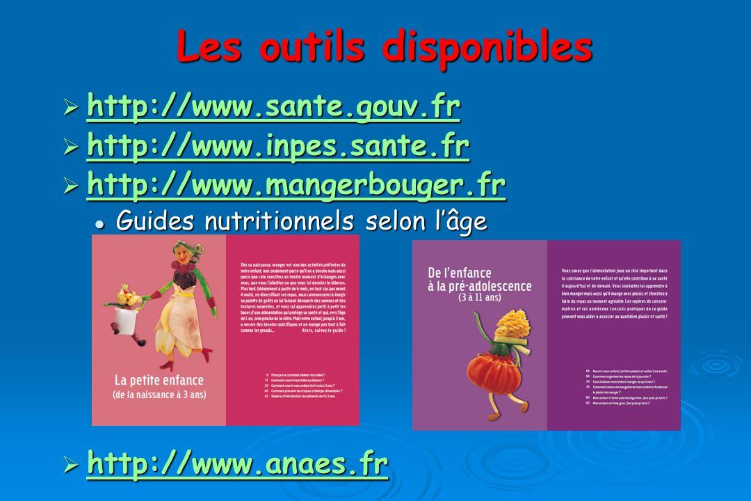 Les outils disponibles http://www.sante.gouv.fr http://www.sante.gouv.fr http://www.inpes.sante.fr http://www.inpes.sante.fr http://www.inpes.sante.fr http://www.mangerbouger.fr http://www.mangerbouger.frwww.mangerbouger.fr Guides nutritionnels selon lâge Guides nutritionnels selon lâge http://www.anaes.fr http://www.anaes.fr