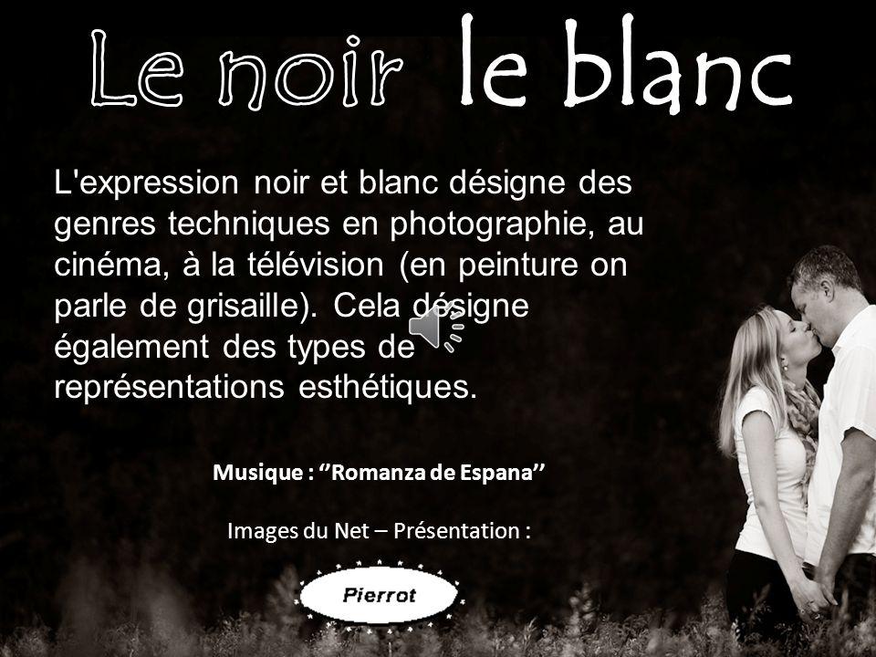 L expression noir et blanc désigne des genres techniques en photographie, au cinéma, à la télévision (en peinture on parle de grisaille).