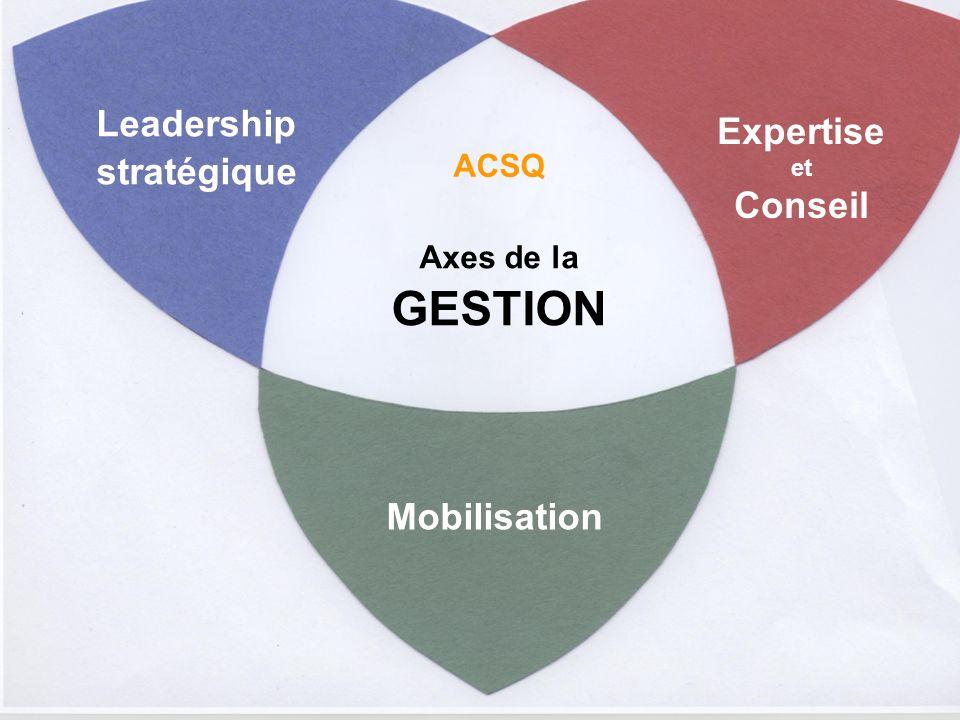 Axes de la GESTION Leadership stratégique Expertise et Conseil Mobilisation ACSQ