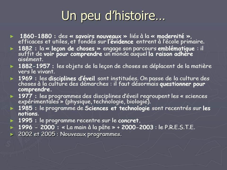 Un peu dhistoire… 1860-1880 : des « savoirs nouveaux » liés à la « modernité », efficaces et utiles, et fondés sur lévidence entrent à lécole primaire.