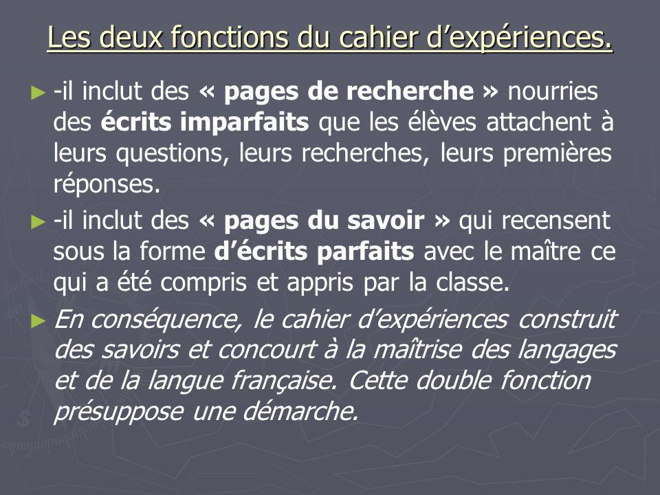 Les deux fonctions du cahier dexpériences. -il inclut des « pages de recherche » nourries des écrits imparfaits que les élèves attachent à leurs quest