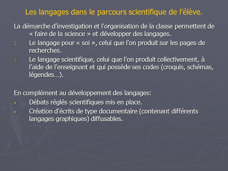Les langages dans le parcours scientifique de lélève. La démarche dinvestigation et lorganisation de la classe permettent de « faire de la science » e