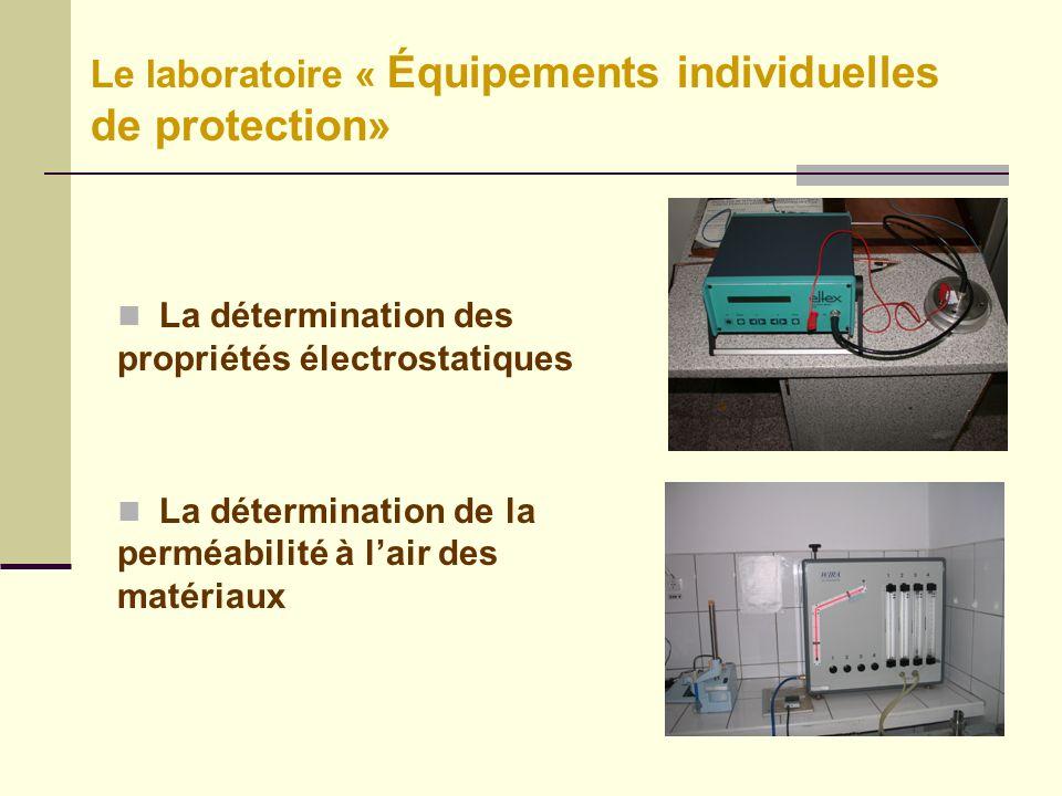 La détermination des propriétés électrostatiques La détermination de la perméabilité à lair des matériaux Le laboratoire « Équipements individuelles de protection»