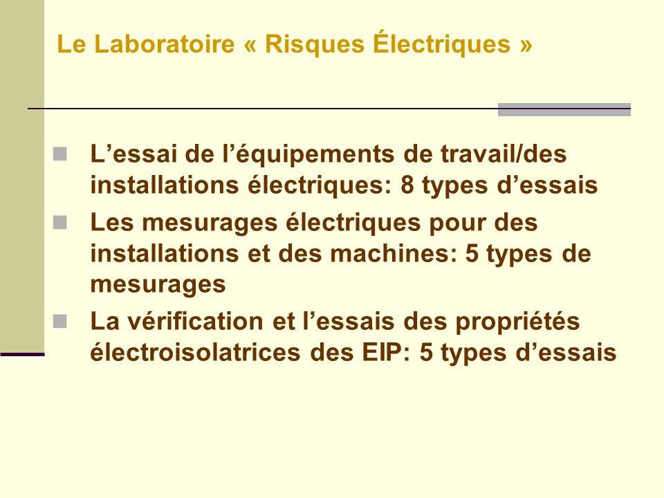 Lessai de léquipements de travail/des installations électriques: 8 types dessais Les mesurages électriques pour des installations et des machines: 5 types de mesurages La vérification et lessais des propriétés électroisolatrices des EIP: 5 types dessais Le Laboratoire « Risques Électriques »