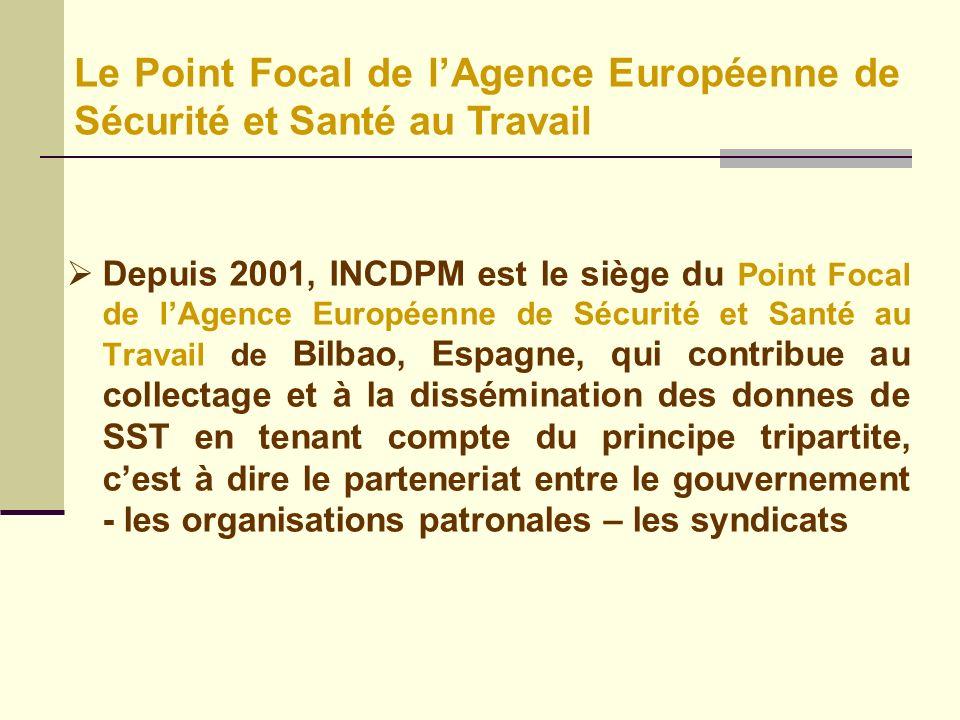 Depuis 2001, INCDPM est le siège du Point Focal de lAgence Européenne de Sécurité et Santé au Travail de Bilbao, Espagne, qui contribue au collectage et à la dissémination des donnes de SST en tenant compte du principe tripartite, cest à dire le parteneriat entre le gouvernement - les organisations patronales – les syndicats Le Point Focal de lAgence Européenne de Sécurité et Santé au Travail