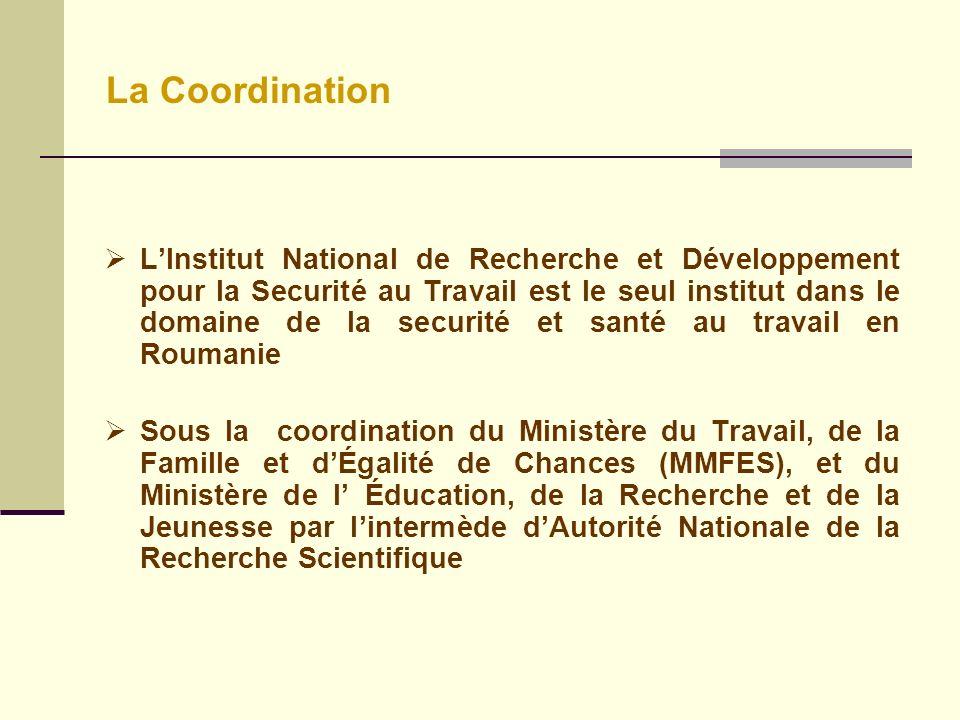 La Coordination LInstitut National de Recherche et Développement pour la Securité au Travail est le seul institut dans le domaine de la securité et santé au travail en Roumanie Sous la coordination du Ministère du Travail, de la Famille et dÉgalité de Chances (MMFES), et du Ministère de l Éducation, de la Recherche et de la Jeunesse par lintermède dAutorité Nationale de la Recherche Scientifique
