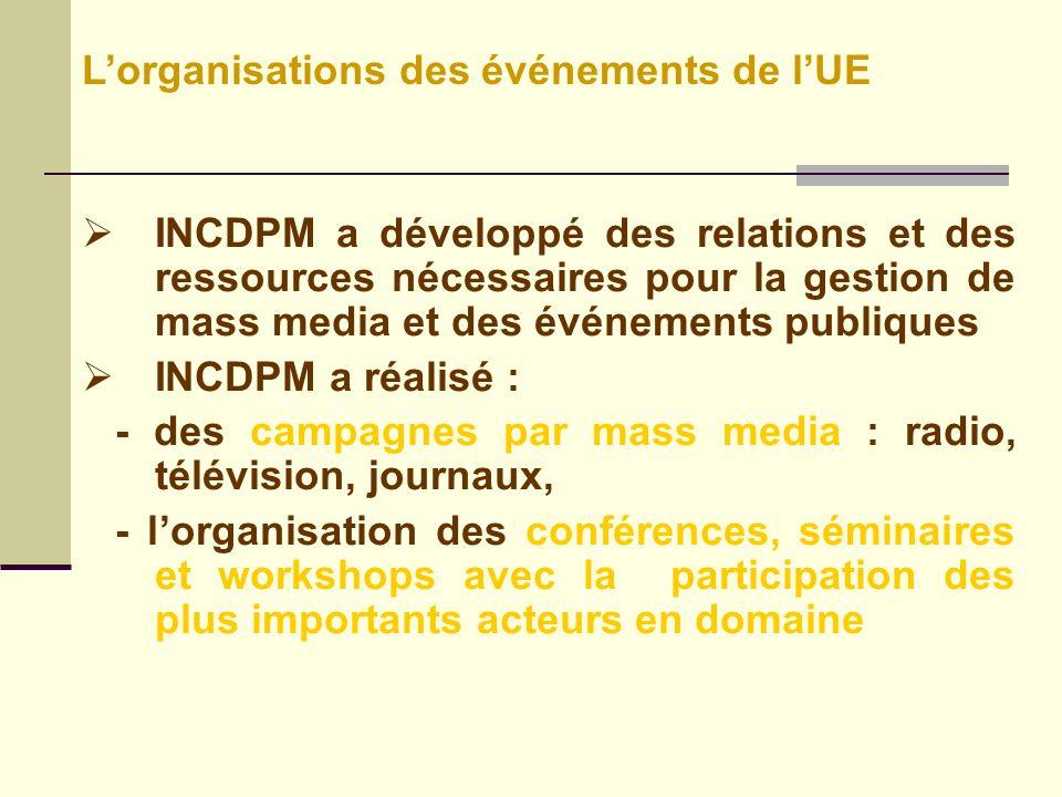 INCDPM a développé des relations et des ressources nécessaires pour la gestion de mass media et des événements publiques INCDPM a réalisé : - des campagnes par mass media : radio, télévision, journaux, - lorganisation des conférences, séminaires et workshops avec la participation des plus importants acteurs en domaine Lorganisations des événements de lUE