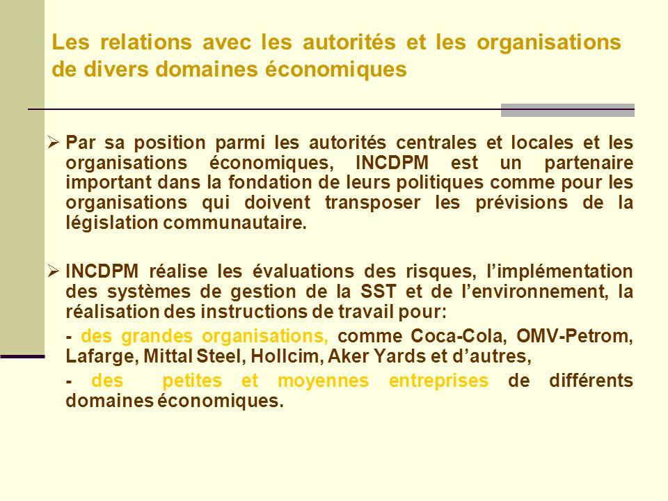 Par sa position parmi les autorités centrales et locales et les organisations économiques, INCDPM est un partenaire important dans la fondation de leurs politiques comme pour les organisations qui doivent transposer les prévisions de la législation communautaire.