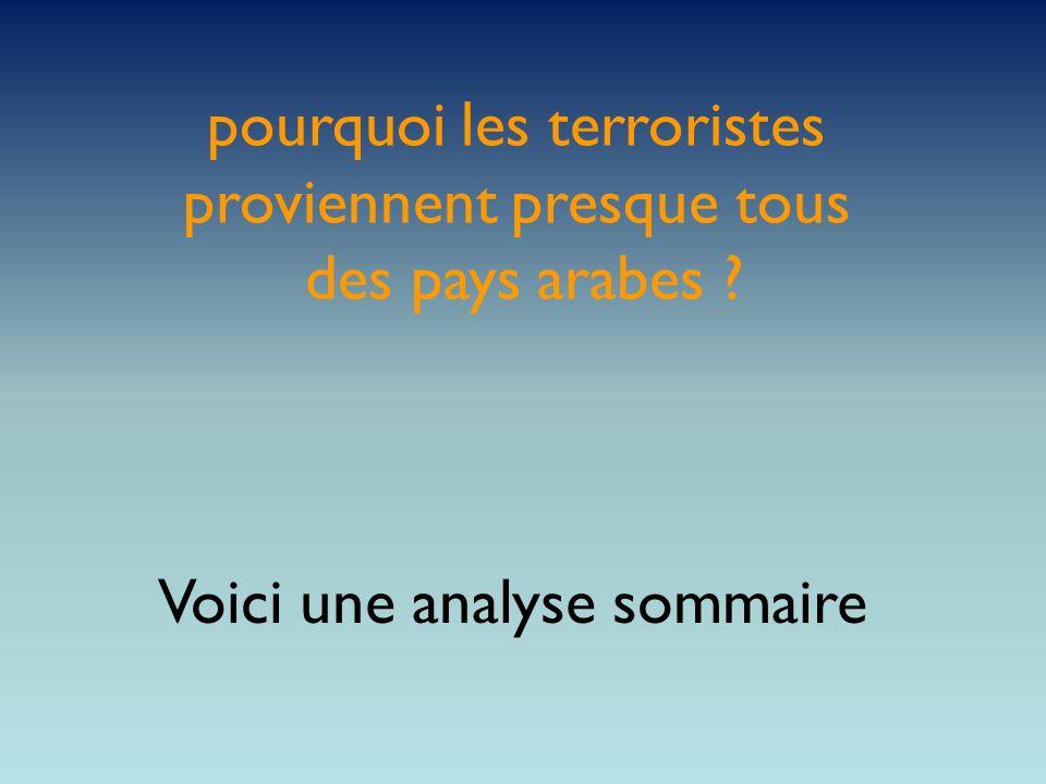 pourquoi les terroristes proviennent presque tous des pays arabes ? Voici une analyse sommaire